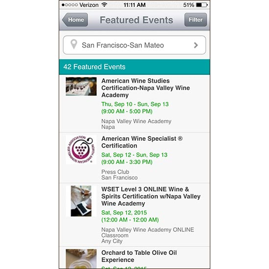 Digital Wine Guide: Local Wine Events