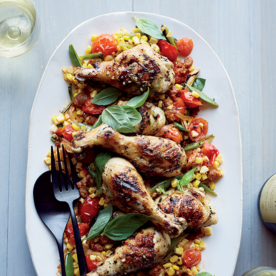 Rosemary Chicken with Corn and Sausage Fricassee