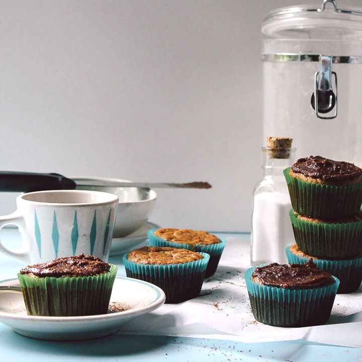 Nutmeg-Banana-Carrot Muffins with Chocolate Ganache