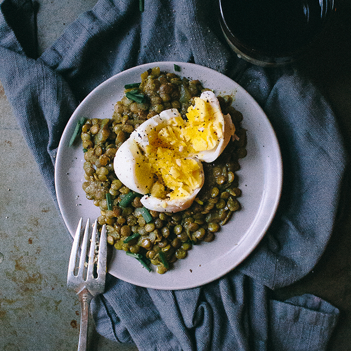 Spiced Coconut Lentils with Peppered Eggs