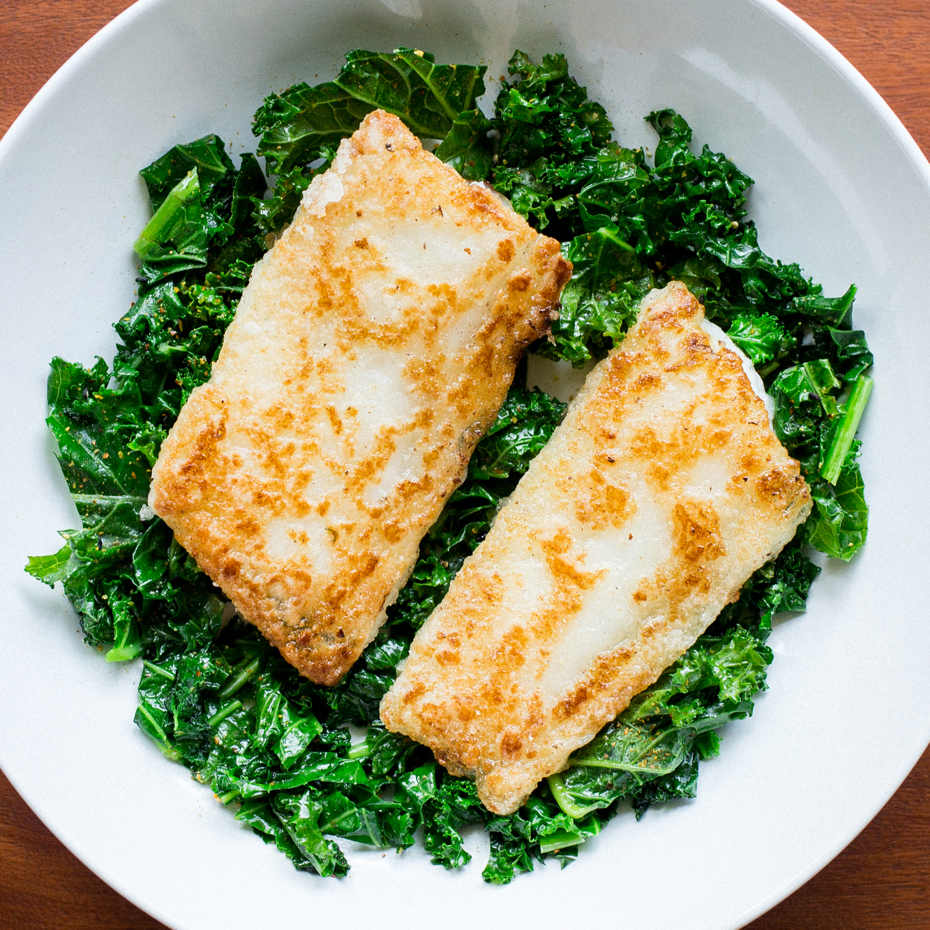 Shio Koji Whitefish and Vinegar-Braised Kale