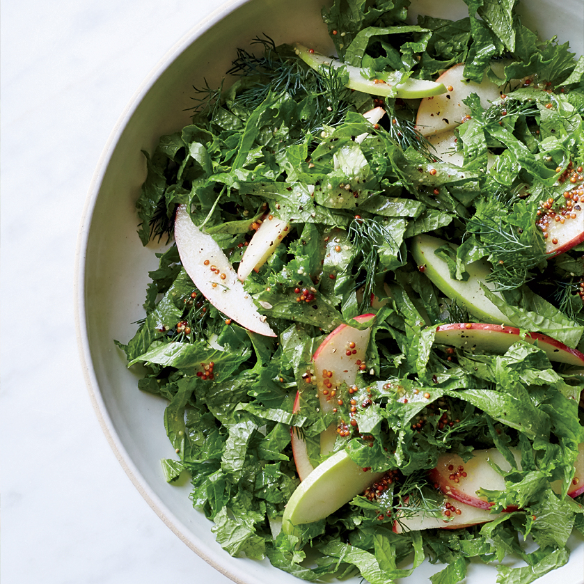 Mustard Greens with Apple Cider-Dijon Dressing
