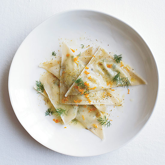 Goat Cheese Ravioli with Orange and Fennel