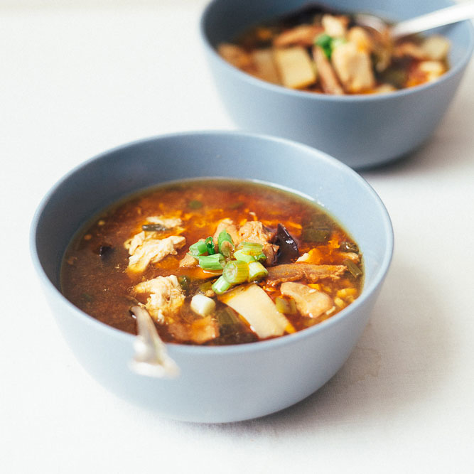 Hot and Sour Soup with Bacon and Egg
