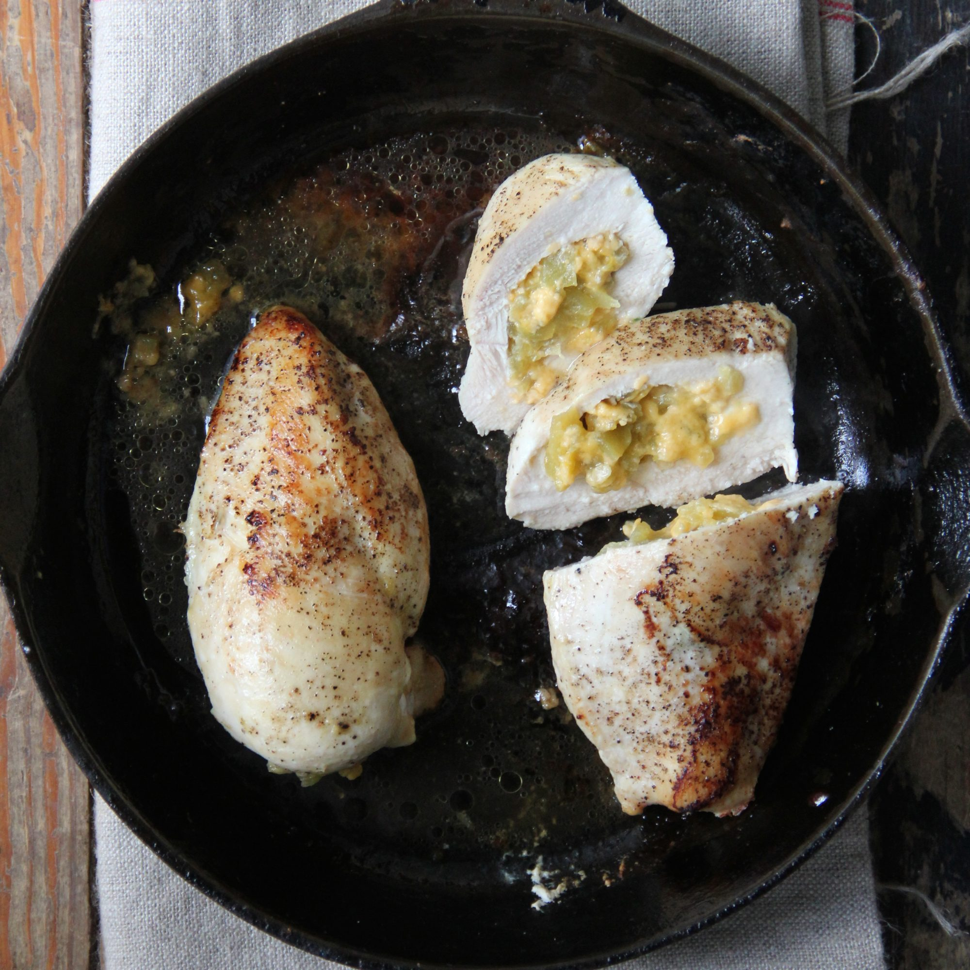 Cheddar and Hatch Chile Stuffed Chicken Breasts