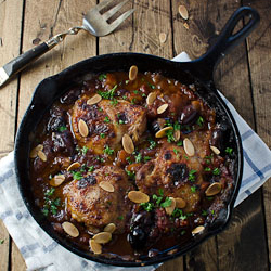 Moroccan-Style Skillet Chicken With Olives and Roasted Almonds