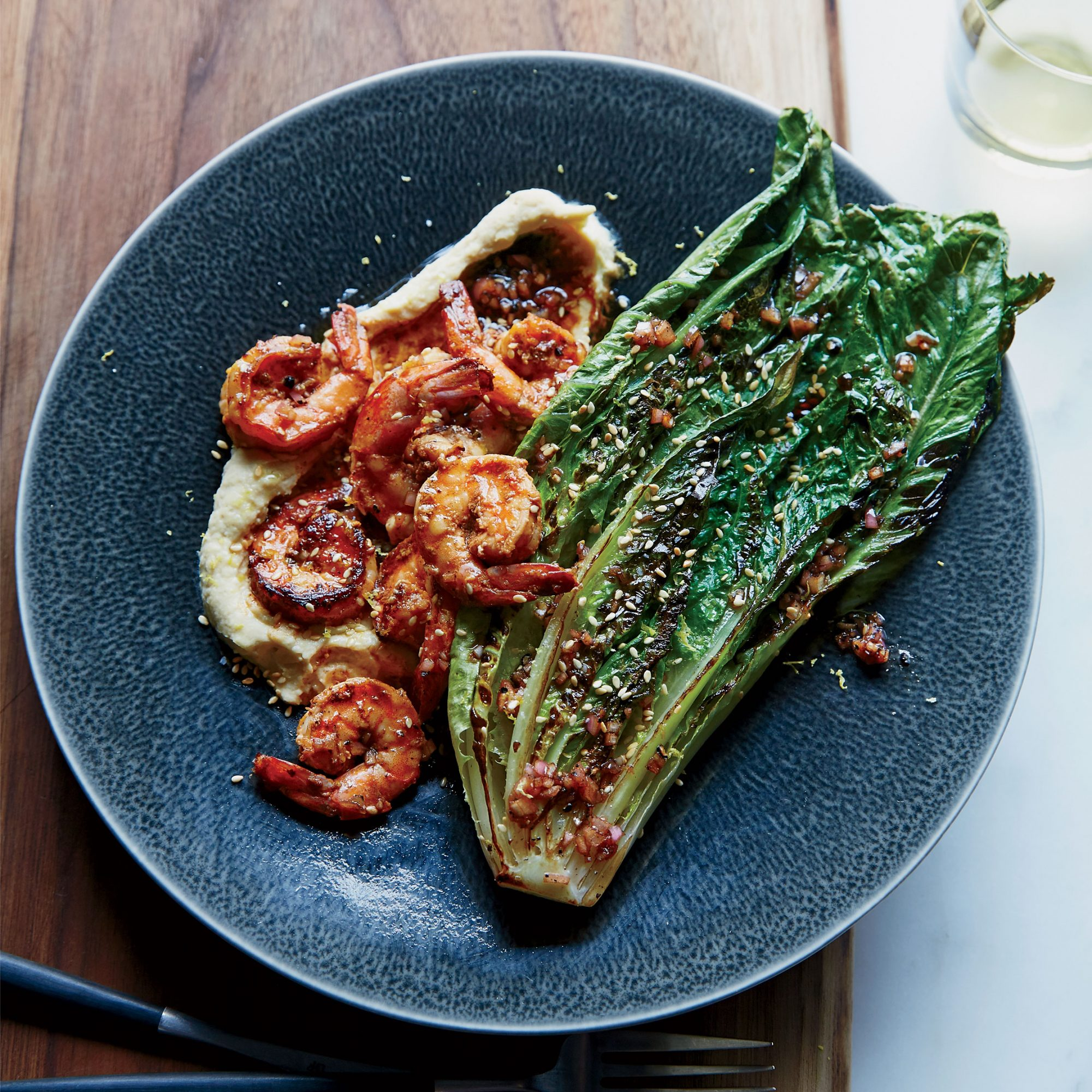 Spicy Shrimp with Pan-Seared Romaine and Chickpea Puree