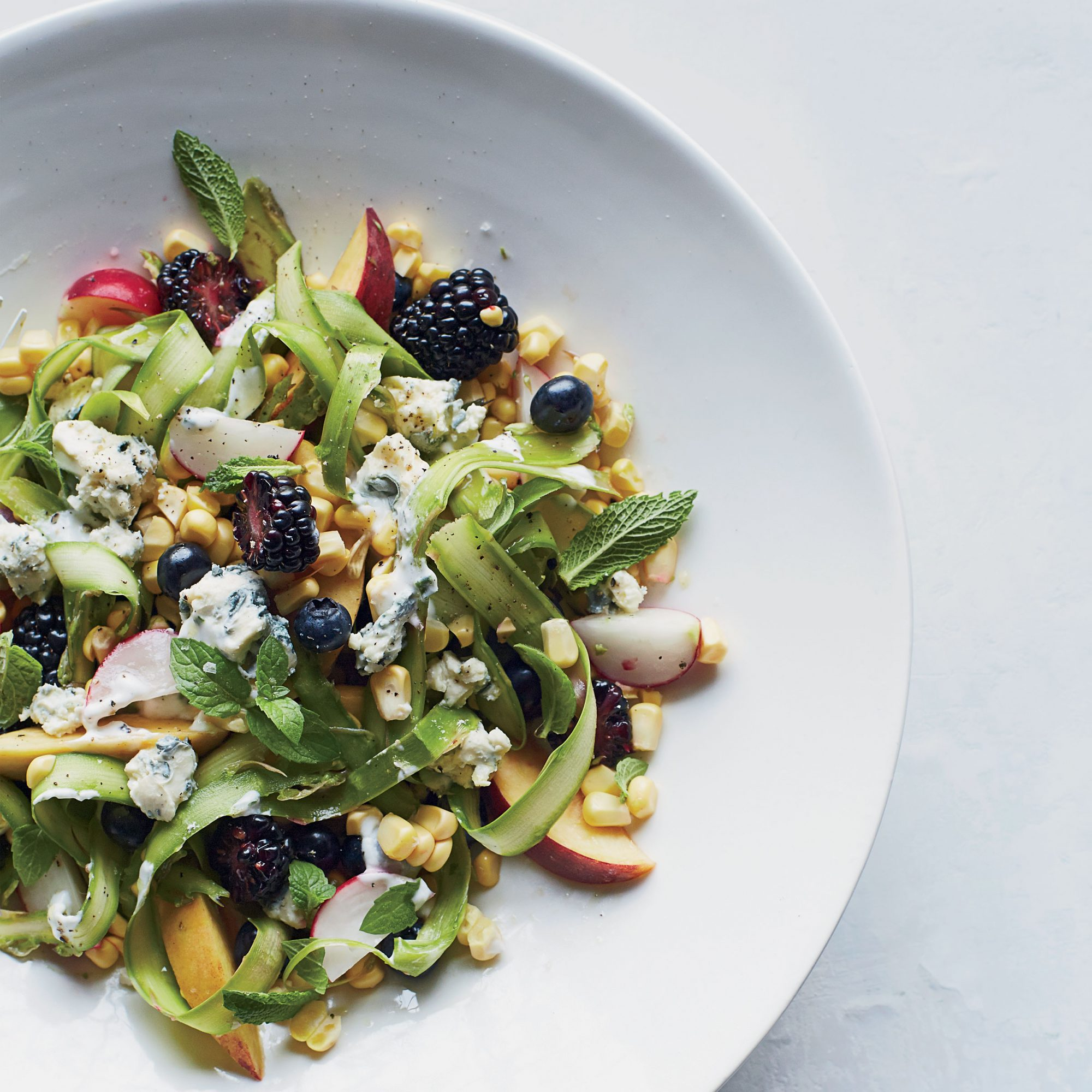 Sweet and Savory Summer Fruit Salad with Blue Cheese