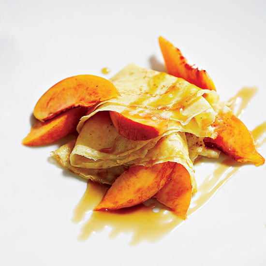 Cornmeal Crêpes with Peaches and Caramel