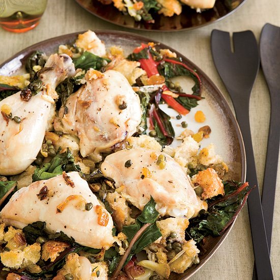 Chicken Baked on a Bed of Bread and Swiss Chard. Photo © Frances Janisch