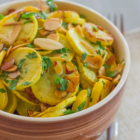 Brown Butter Yellow Squash with Almonds