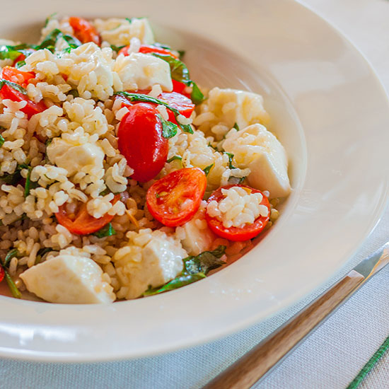 Brown Rice Salad with Tomato, Basil, and Mozzarella