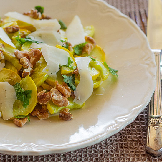 Roasted Yellow Squash with Mint, Walnuts and Pecorino