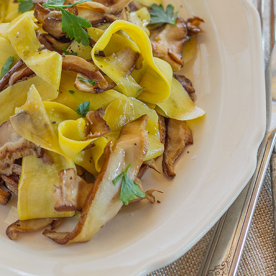 Yellow Squash with Wild Mushrooms