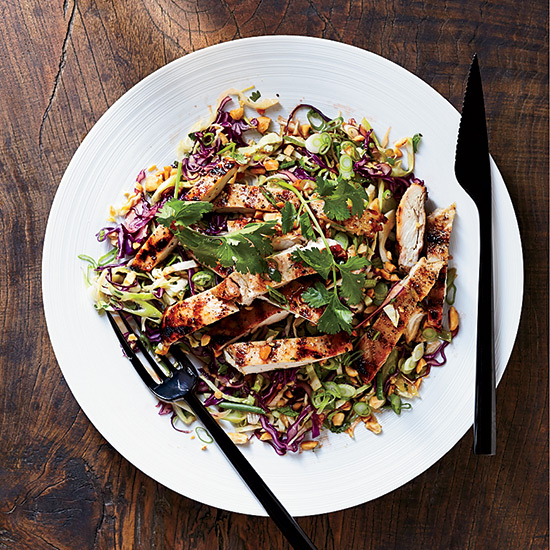 Grilled Mango Chicken with Cabbage Salad