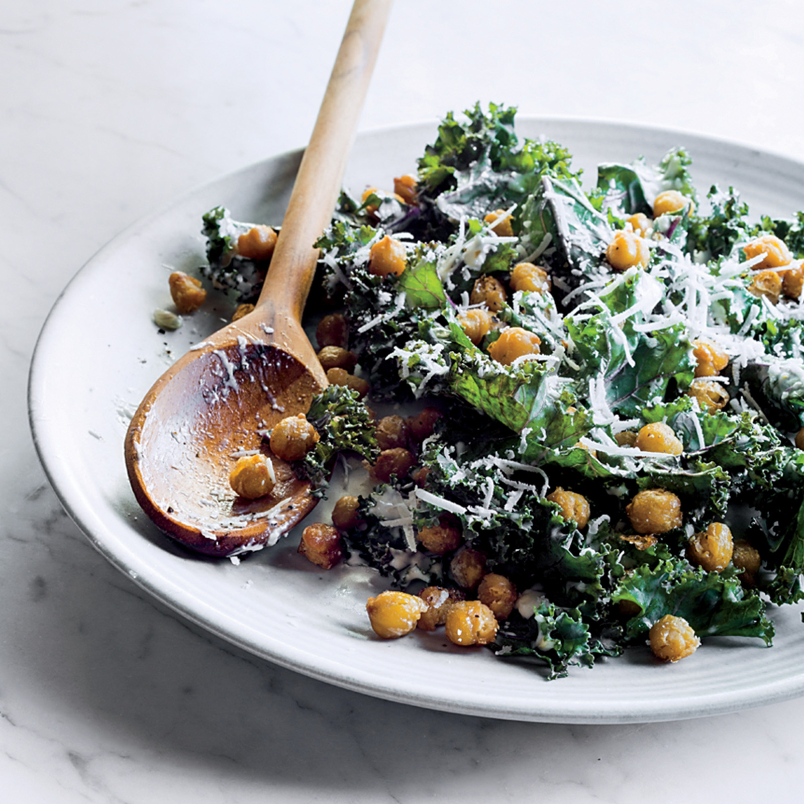 Kale Caesar with Fried Chickpeas