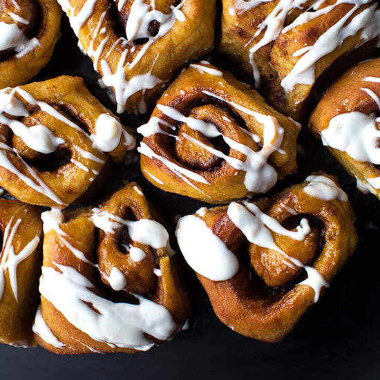 Pumpkin Cinnamon Rolls with a Coconut-Orange Marmalade Frosting