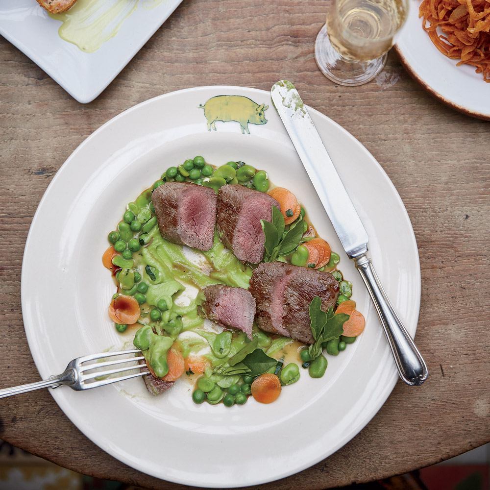 Lamb Fillets with Favas and Spring Vegetables