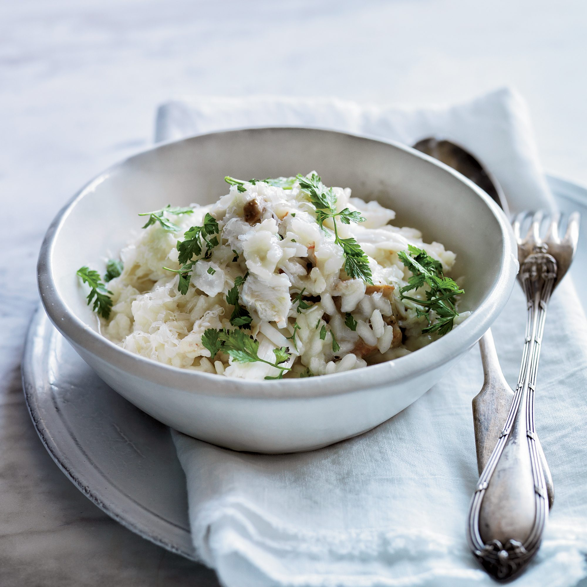 Crab Risotto with Oyster Mushrooms