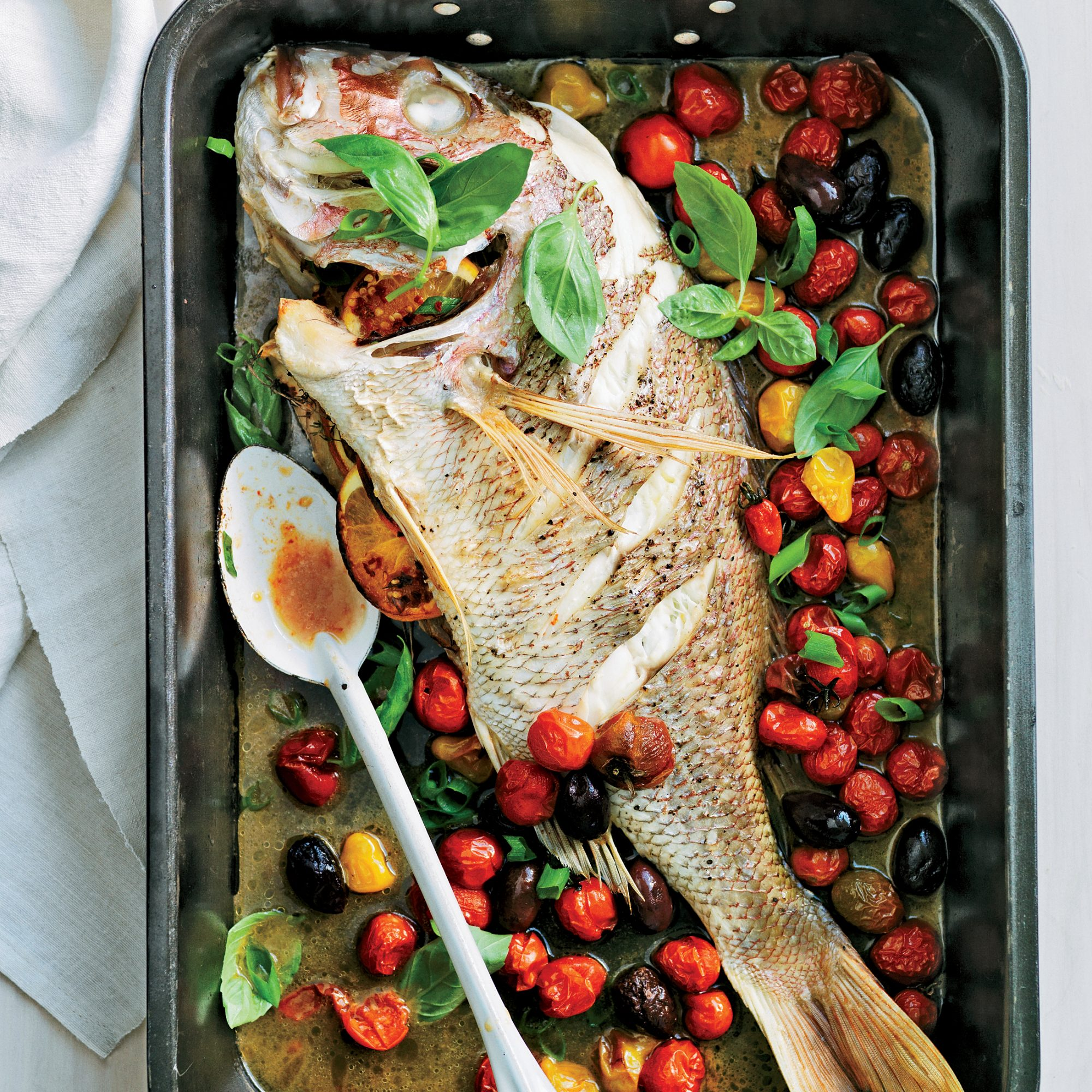 Whole Roast Snapper with Heirloom Tomatoes and Olives