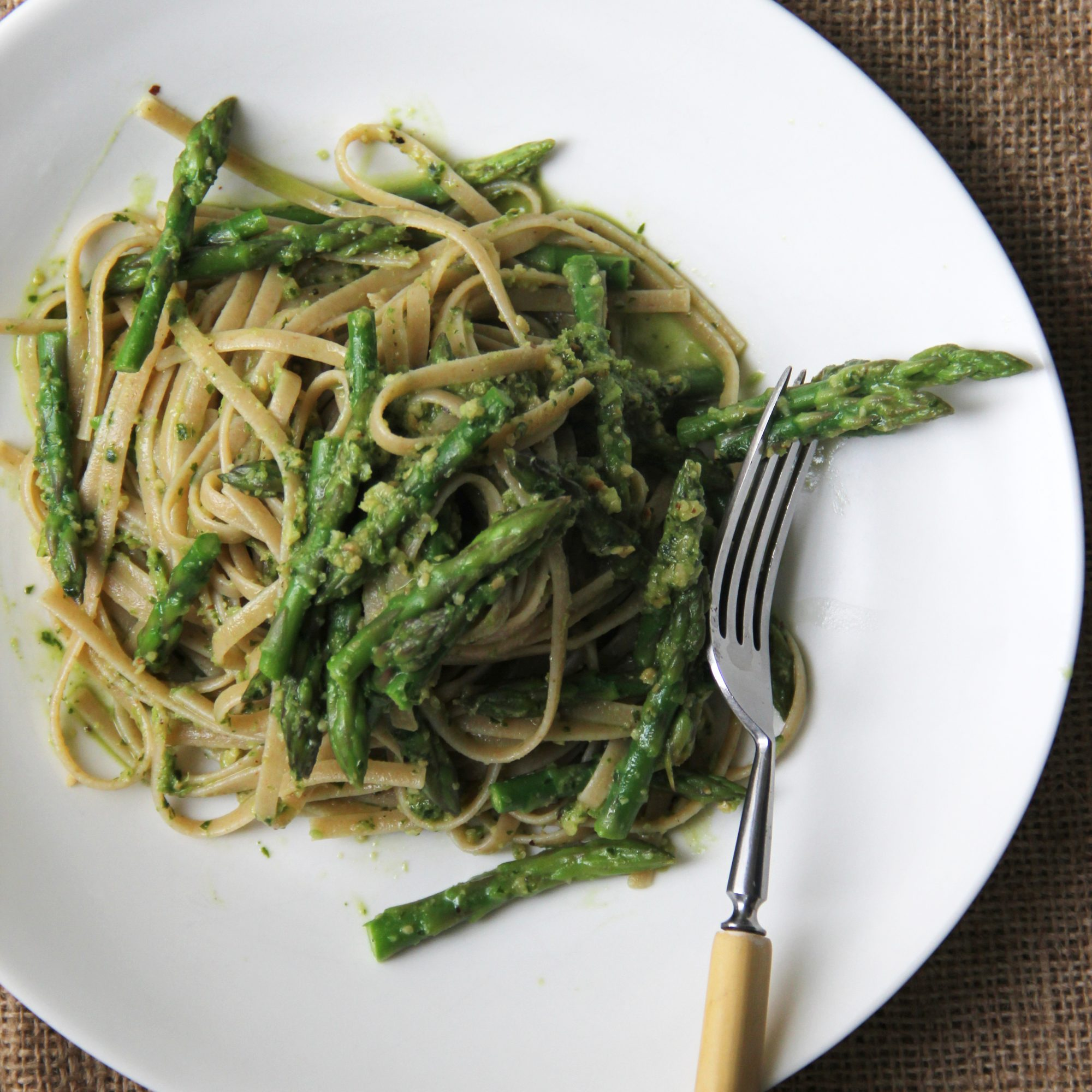 Asparagus Pesto with Whole Wheat Pasta
