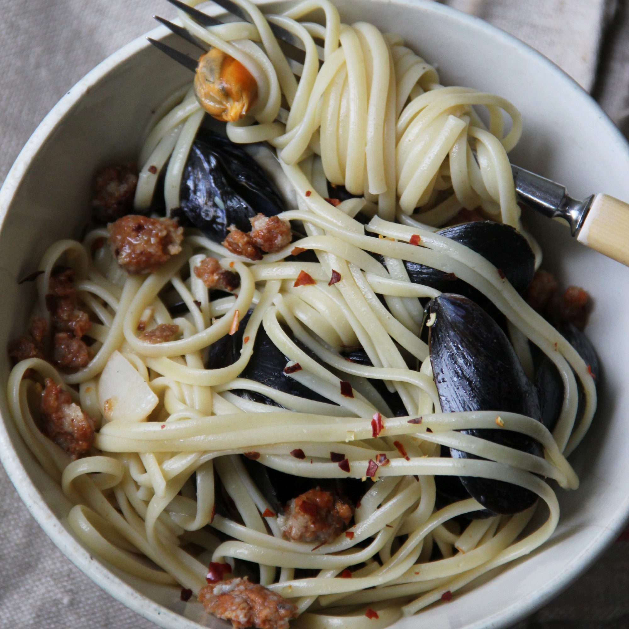 Chorizo and Mussel Pasta