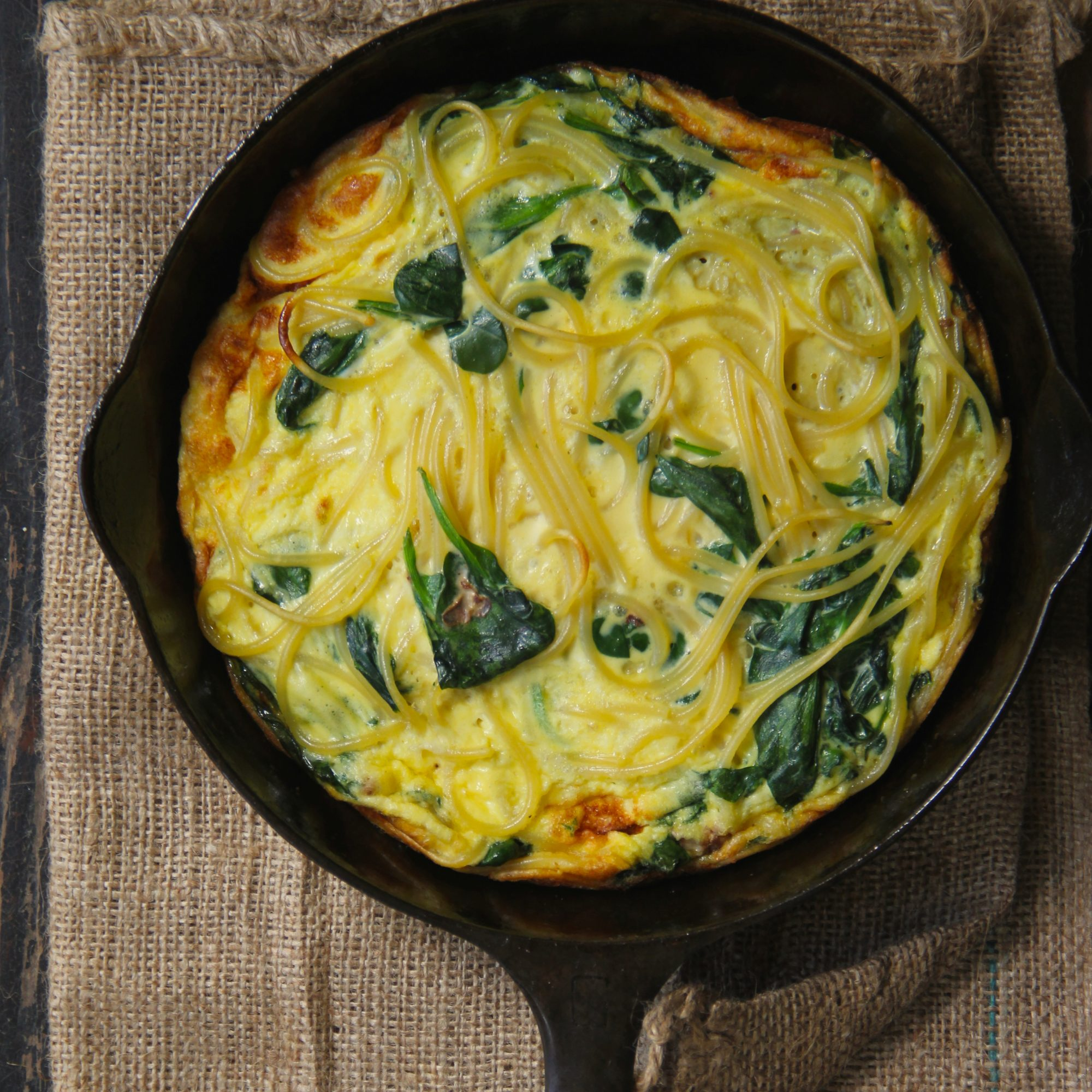 Spinach and Spaghetti Omelette