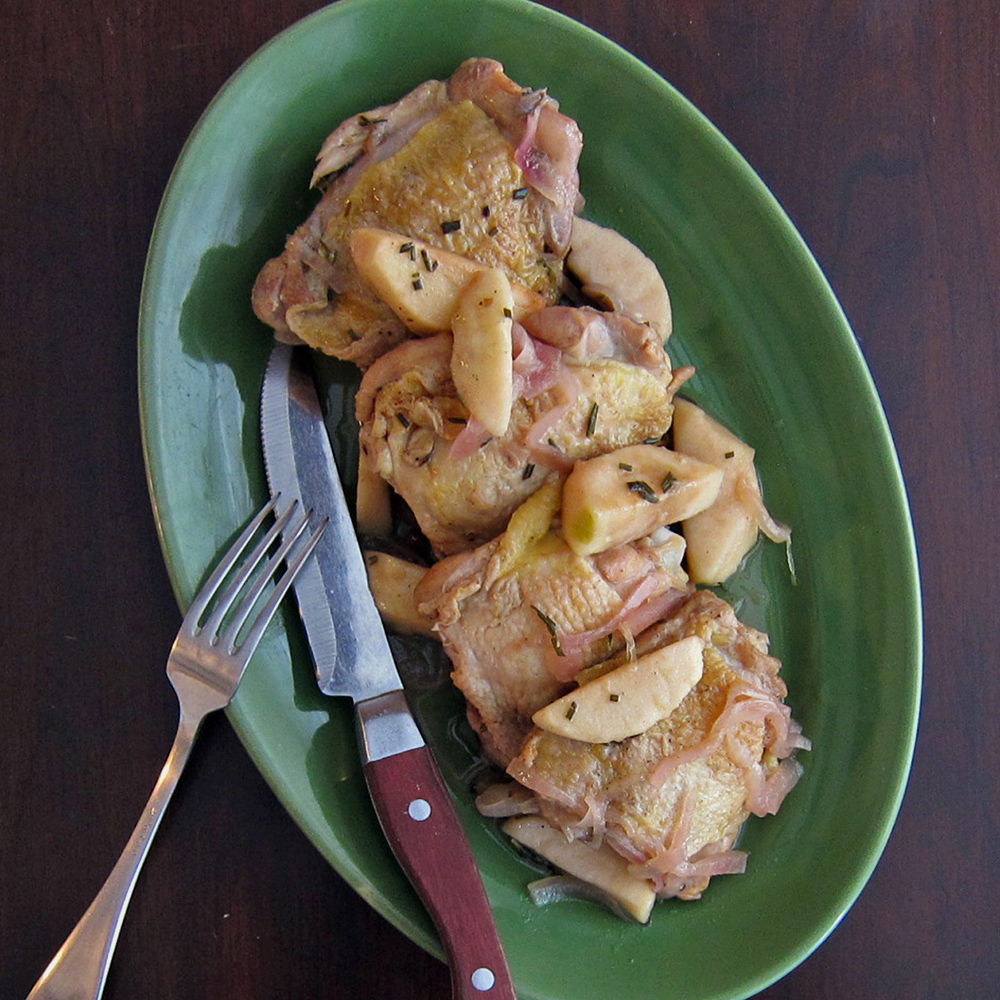 Cider-Braised Chicken Thighs with Apple