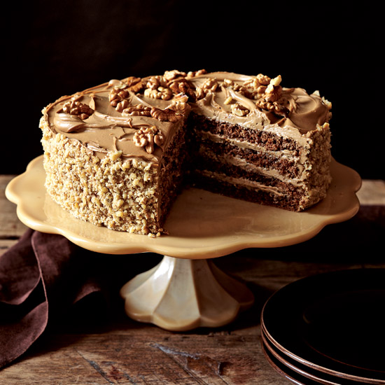 Rum-Mocha Walnut Layer Cake