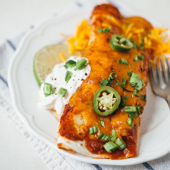Garlic Chicken Enchiladas with Green Onions and Black Beans