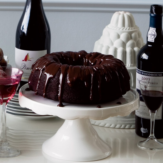 Double-Chocolate Bundt Cake with Ganache Glaze