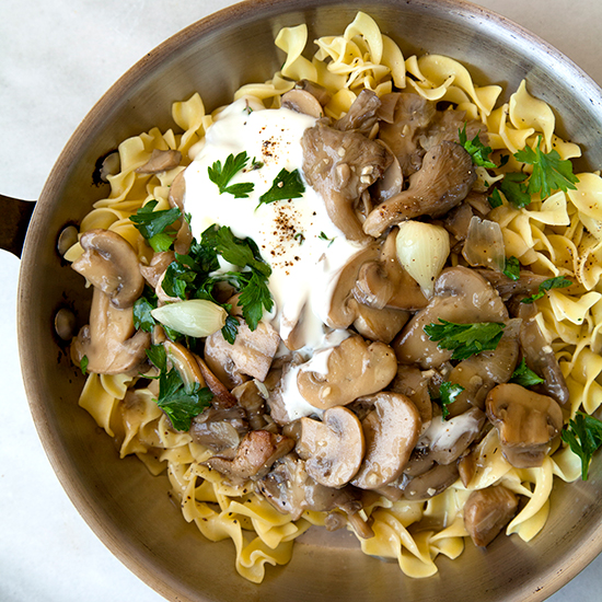 Slow Cooker Mushroom Stroganoff with Egg Noodles