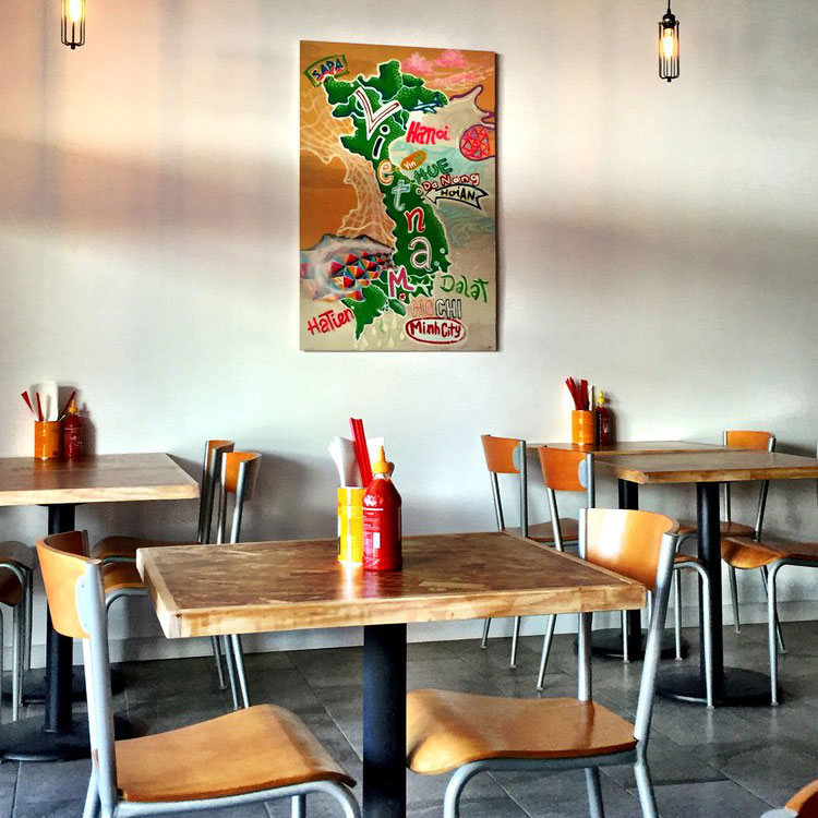 Palm Springs restaurant Rooster and the Pig serves American and Vietnamese food.