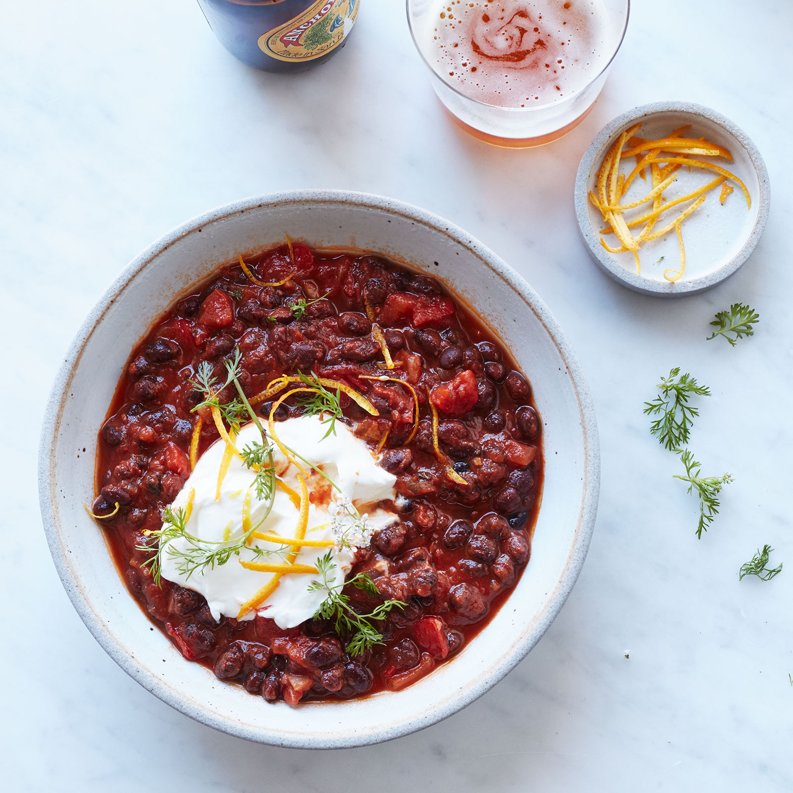 Vegetarian Black Bean Chili with Ancho and Orange