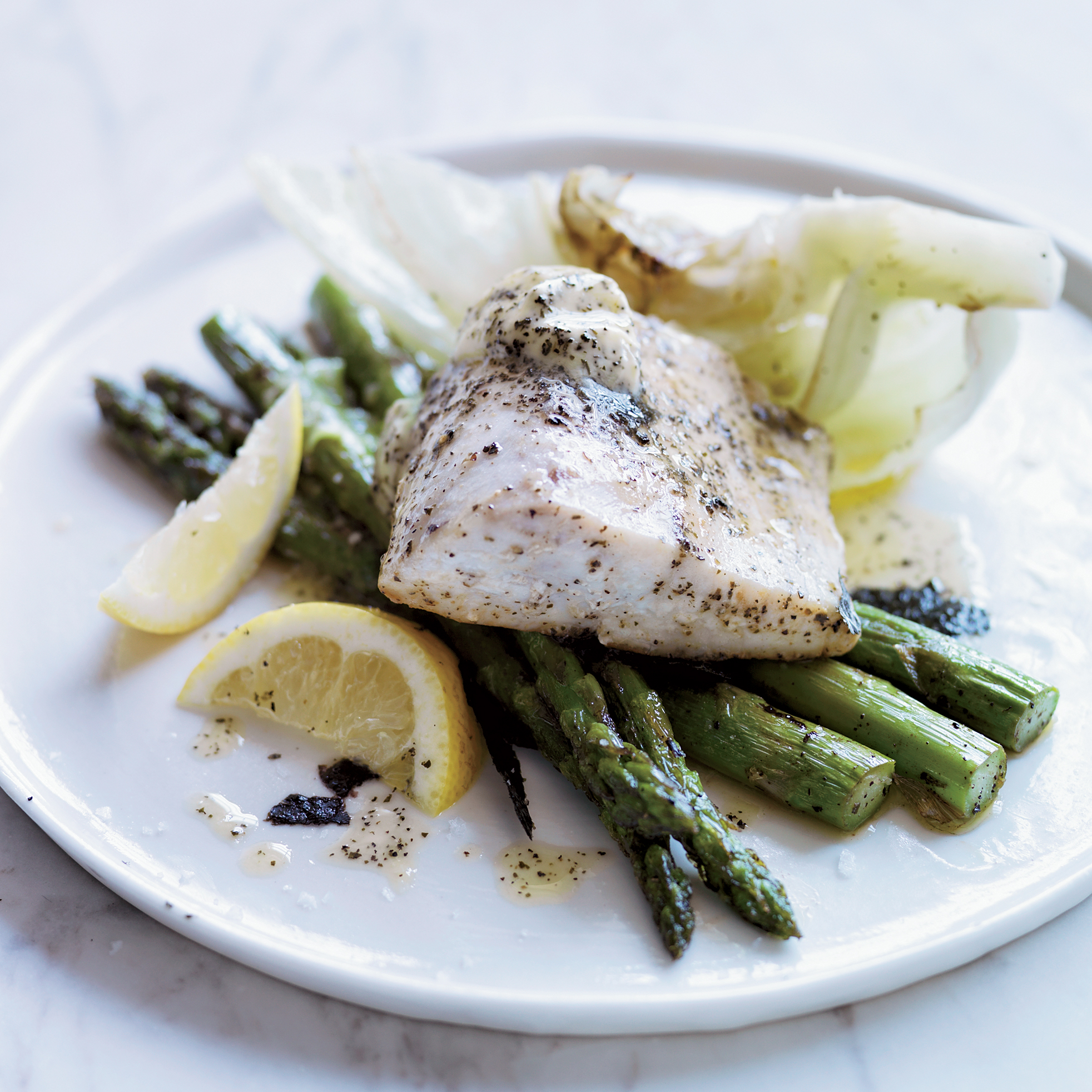 Roast Bass with Kombu Butter, Iceberg Lettuce and Asparagus
