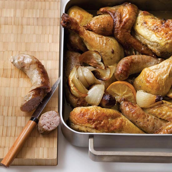 One-Pan Chicken, Sausage and Sage Bake. Photo © Quentin Bacon