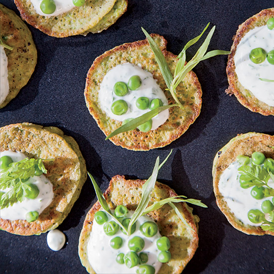 Mini Pea Pancakes with Herbed Yogurt
