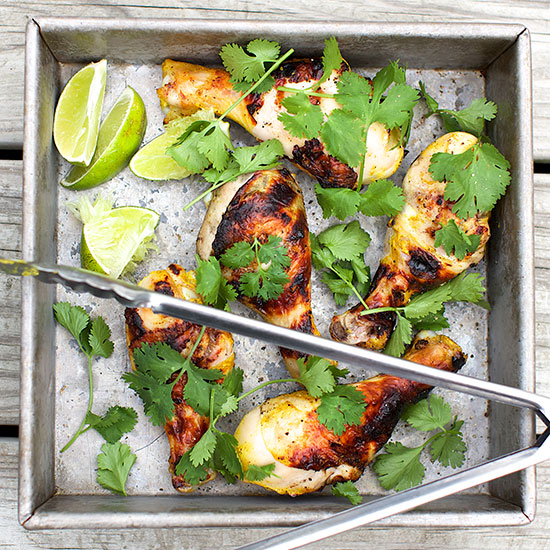 Grilled Curried Chicken Legs