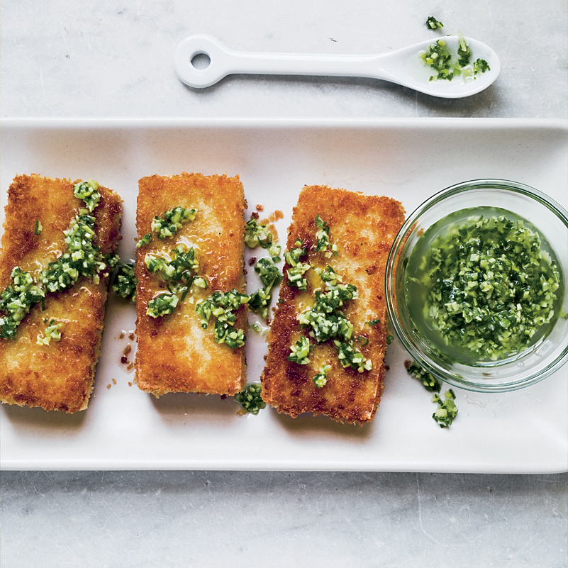 Crispy Tofu Steaks with Ginger Vinaigrette