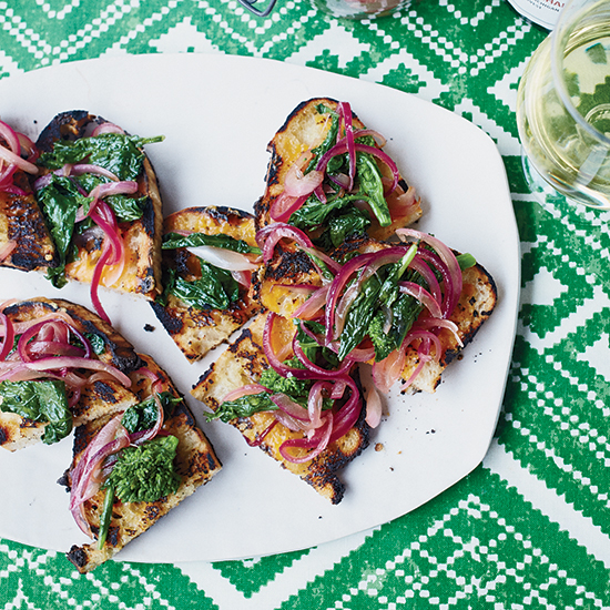 Open-Face Cheese Toasts with Broccoli Rabe Relish