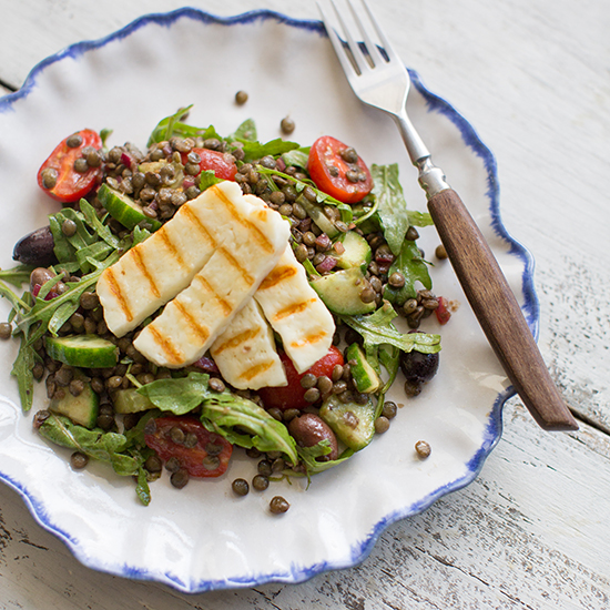 Grilled Halloumi and Lentil Salad