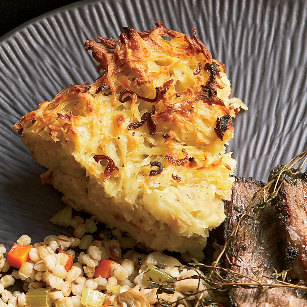 Potato Kugel with Fried Shallots