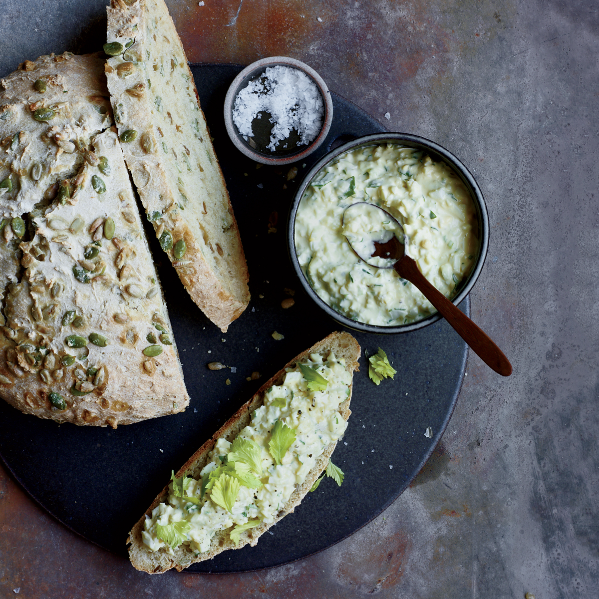 Egg Salad with Lovage on Seeded Quick Bread