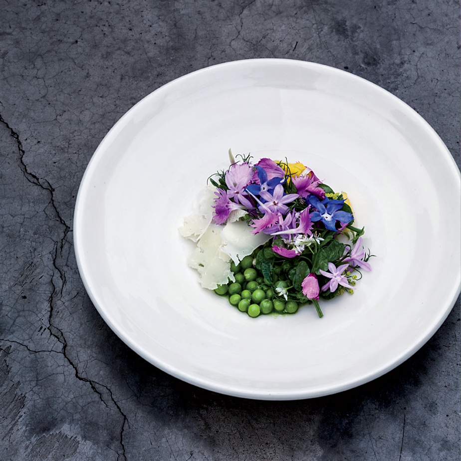 English Peas with Cider Dressing, Goat Cheese and Flowers