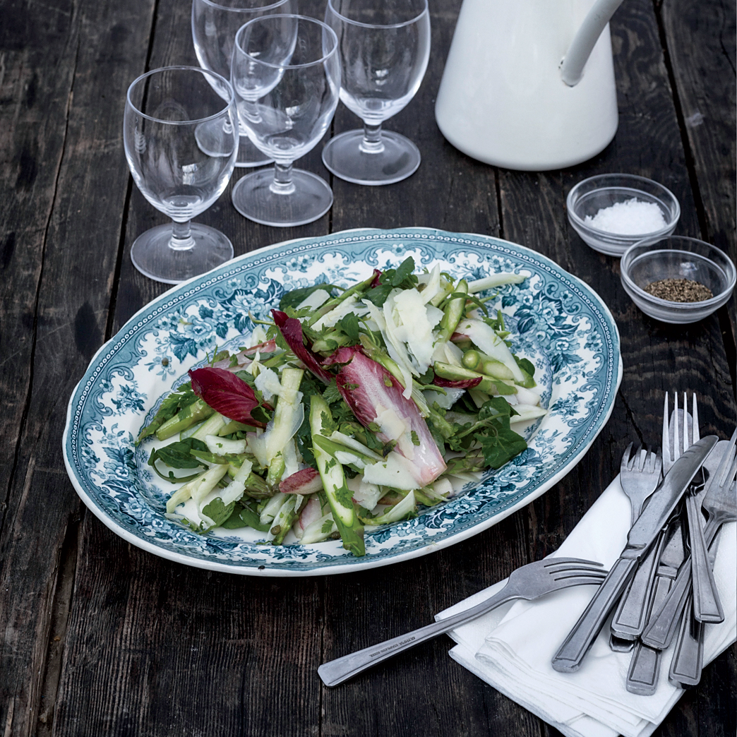 Raw Asparagus, Fennel and Pecorino Salad