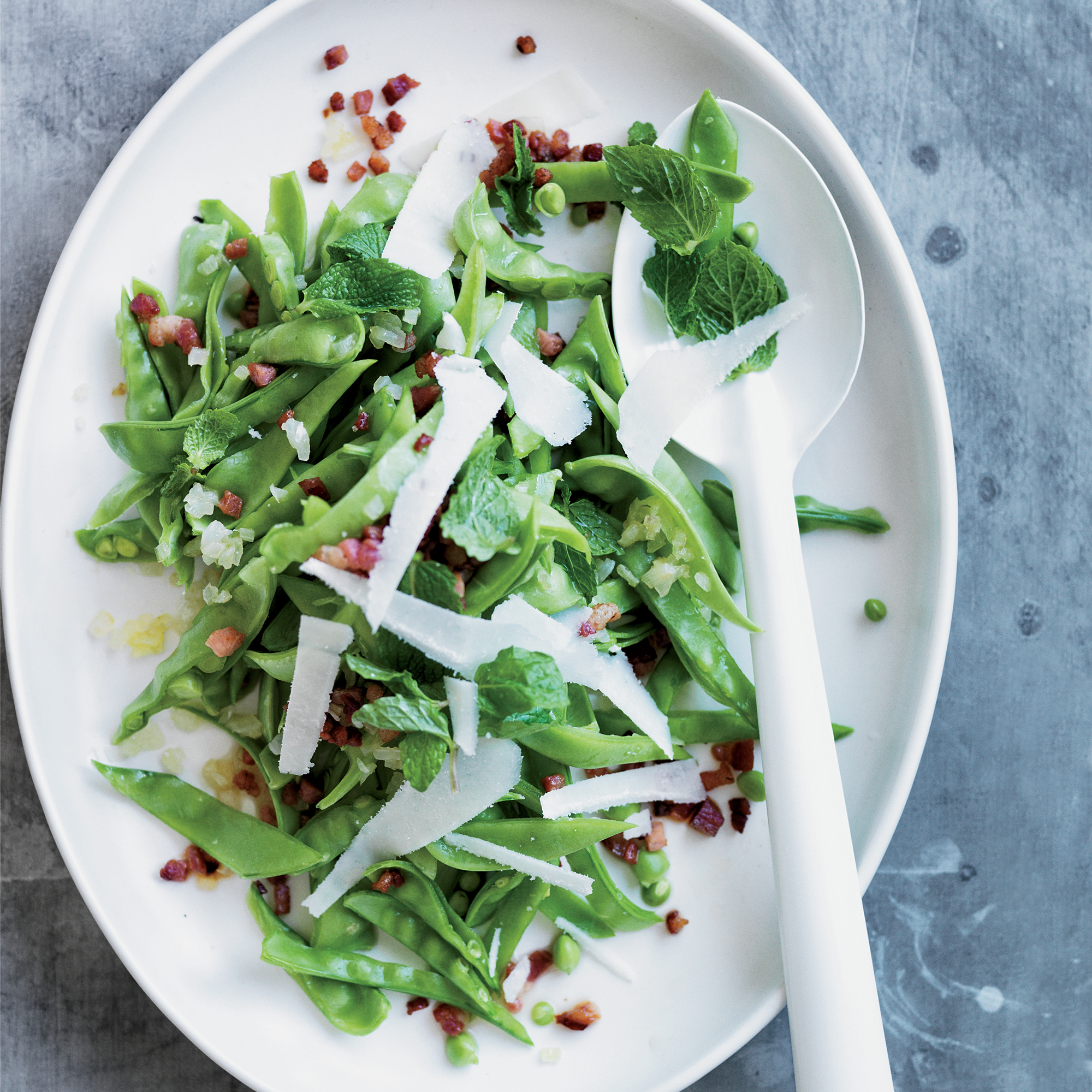 Fresh Snow Pea Salad with Pancetta and Pecorino