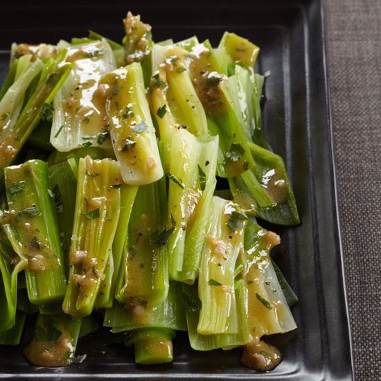 Steamed Leeks with Mustard-Shallot Vinaigrette