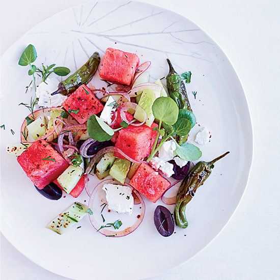 Watermelon, Feta and Charred Pepper Salad
