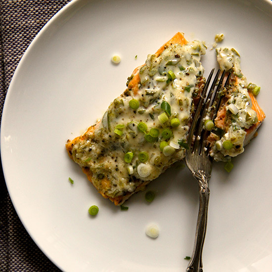 Easy Scallion Mayonnaise Baked Salmon