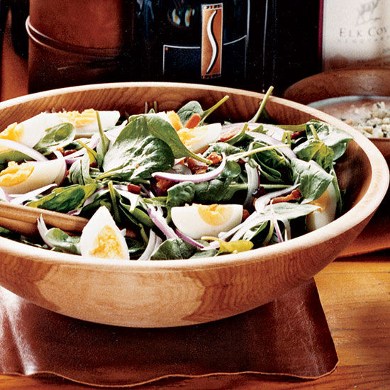 Spinach Salad with Bacon and Buttermilk-Blue Cheese Dressing